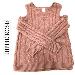 Hippie Rose Cold Open Shoulder Knit Sweater SZ L